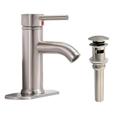 POIQIHY Bathroom Basin Faucet Brushed Nickel Waterfall Spout Sink Mixer Tap