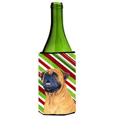 Mastiff Candy Cane Holiday Christmas Wine bottle sleeve Hugger 24 oz.