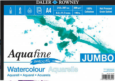 Daler Aquafine Jumbo Watercolour Pad 140lb / 300gsm - A4 Smooth - 50 Sheets