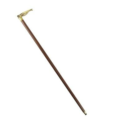 Sturdy Solid Brass Sperm Whale Handle Cane Wooden Shaft Walking Stick Wood Canes