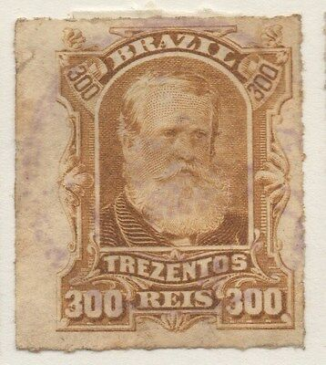 BRAZIL;  1878 early Dom Pedro issue 300r. used value