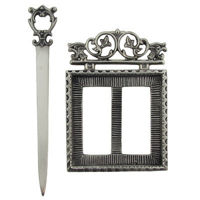 New Victorian Style Silver Letter Opener&Memo/Note Pad Holder Desk Accessory Set