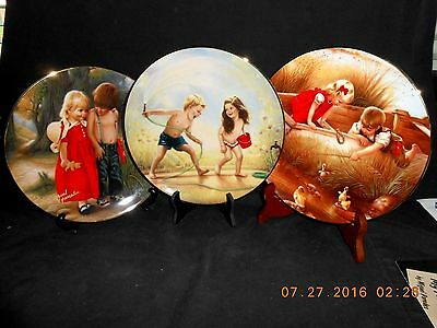 """3 Plates By Miguel Paredes """"Reflections Of Innocence"""" Series by Armstrong Mint"""