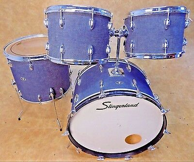 Rare Vintage 1970's Slingerland Denim 4 Piece Drum Set Kit