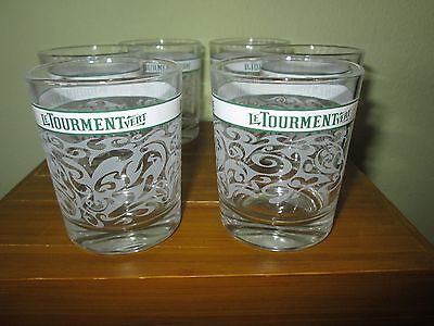 6 Le Tourment Vert absinthe glasses Art Deco design Made in Italy MINT