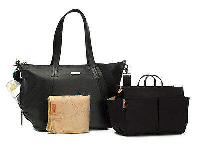 New Storksak Designer Changing Nappy Black Leather Noa Baby Diaper Bag & Extras!