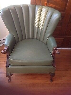 Strange Vintage Leather Green Curve Wingback Chair 3 000 00 Gmtry Best Dining Table And Chair Ideas Images Gmtryco