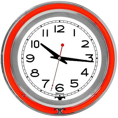 Trademark 99-1099RD 14-Inch Double Red Outer and White Inner Ring Neon Clock