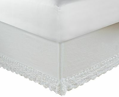 Greenland Home Crochet Lace Bed Skirt 18-Inch White Twin