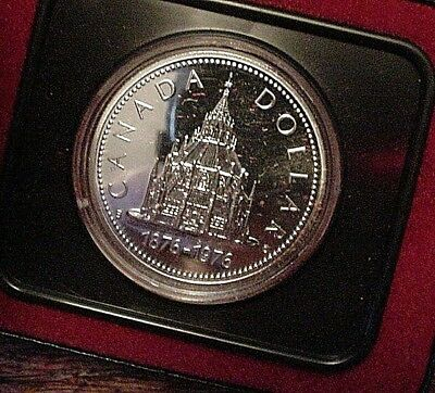 silver dollar 1976 CANADA PROOF LIKE PL cased Parliament Library MINT in box