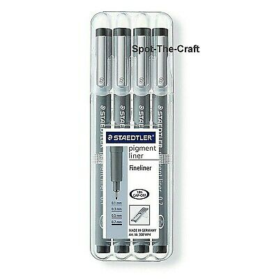 Staedtler Pigment Liner 4 Pens Black 0.1, 0.3, 0.5 and 0.7 308 A6 WP403