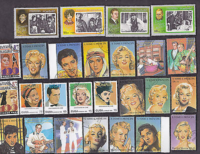 75 All Different Movie Stars & Entertainers  Stamps