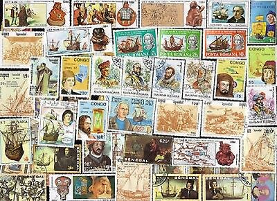 75 All Different  Columbus Etc. On Stamps