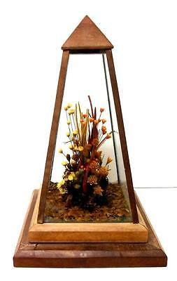 Vintage Glass & Wood 'Dried Flowers' Display Box Terrarium, Vertical Upright 11""