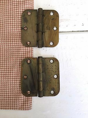 Pair Vintage Brass Hager Hinges, Vintage Door Hardware, Architectural Salvage