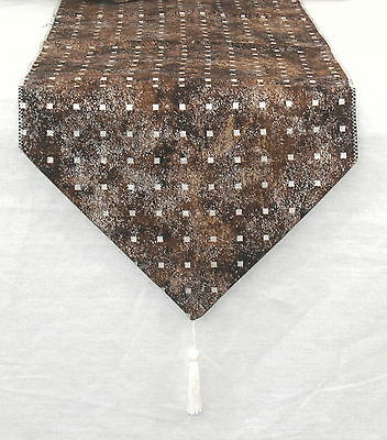Brown & Silvery Squares Long Table runner By Temptations of Stoke on Trent