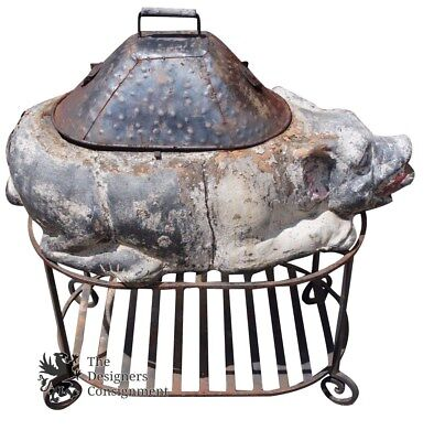 Primitive Antique Stone Pig Shaped Cooker Wrought Iron Base Smoke Grill Roast