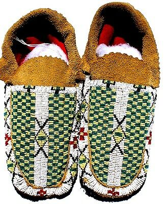 "Vintage Antique 10"" Native American Apache Indian Beaded Moccasins"