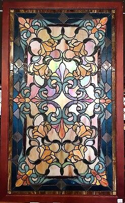 Glass Window Stained Leaded Wood Frame Ornate Blue Floral Design Tiffany Style