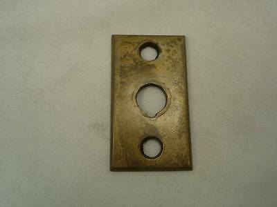 Vintage Solid Brass Door Back Plate Round Key Slot Small 1 3/4 Tall 7/8 Wide #6