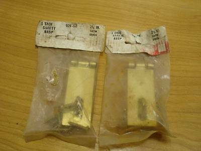 NOS 2 Satin Brass Safety Hasp Cupboard Lock Screen Door Latch 2 1/2 inch