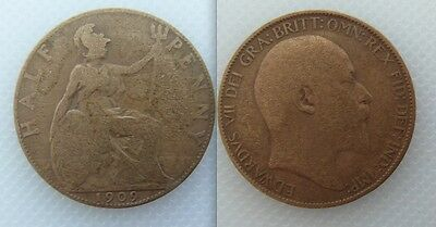 Collectable 1909 King Edward VII Copper Half-Penny
