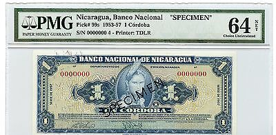 Nicaragua 1 Cordoba, 99s, 1953-57, Specimen PMG 64 Choice Uncirculated