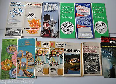 lot of 14 vintage QUEBEC / ONTARIO Tourism/Camping Booklets 1970s Canada