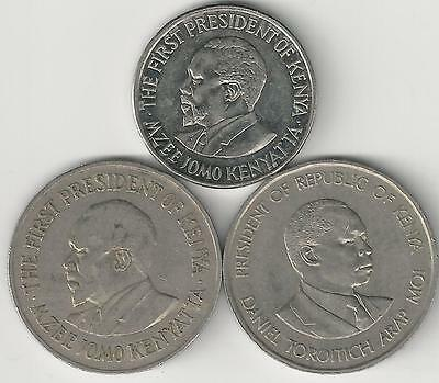 3 DIFFERENT 1 SHILLING COINS from KENYA - 1971, 1989 & 2010 (3 TYPES)