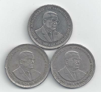 3 DIFFERENT 1 RUPEE COINS from MAURITIUS (1990, 1997 & 2004)