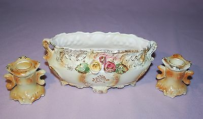 Vintage CHASE Japan compote bowl and matching candlesticks