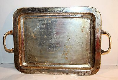 Pottery Barn Two Handle Silver Plated Serving Tray