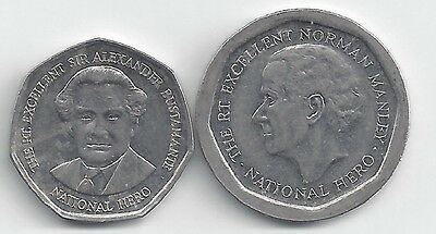 2 HIGHER DENOMINATION $1 & $5 COINS from JAMAICA (BOTH DATING 1995)