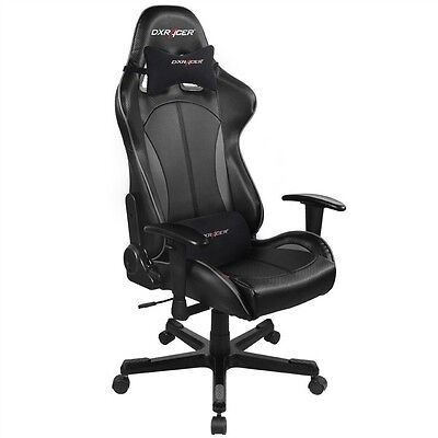 DXRacer F Series PC Gaming Chair - Black & Carbon Grey w/ Lumbar Support[OH/F..
