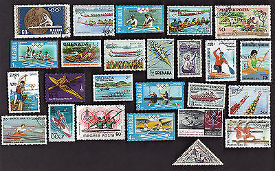 25 All Different CANOES AND SMALL WATERCRAFT, CANOEING on Stamps