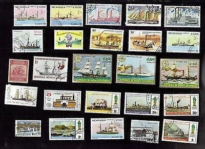 25 All Different Paddlewheelers On Stamps