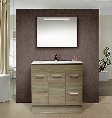 900mm Oak Colour Freestanding or Wall Hung Vanity with Ceramic Top