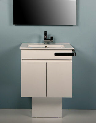600mm Slim Freestanding or Wall Hung Bathroom Vanity Unit with Ceramic Top