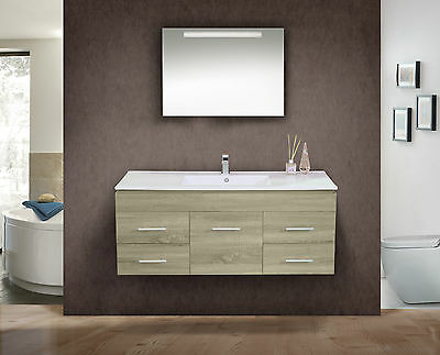1200mm Oak Colour Freestanding or Wall Hung Vanity Unit with Stone Top-BG