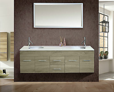 1500mm Oak Colour Freestanding or Wall Hung Bathroom Vanity Unit with Stone Top