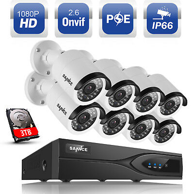 ANNKE 3TB HDD 1080P 8CH NVR POE Network Outdoor Home Security IP Camera System