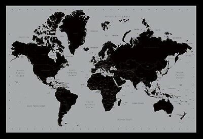 (FRAMED) CONTEMPORARY MAP OF THE WORLD POSTER 96x66cm PRINT PICTURE