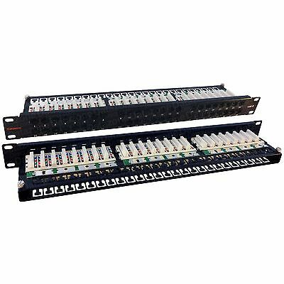 48 Way Cat6 Patch Panel Networking Ethernet 1U Data Server Cabinet Comms