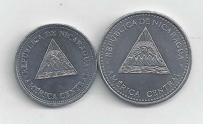 2 DIFFERENT COINS from NICARAGUA - 50 CENTAVOS & 1 CORDOBA (BOTH 2007)