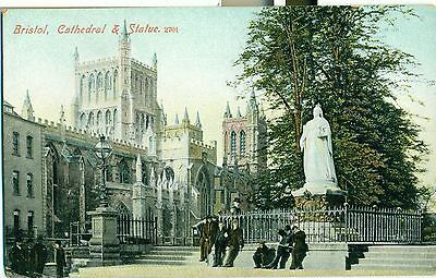 POSTCARD BRISTOL Cathedral & Statue