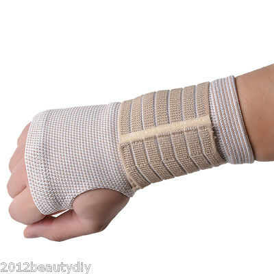 1Pc Beige Palm Wrist Hand Support Glove Elastic Sports Bandage Gym Wrap 18x9cm
