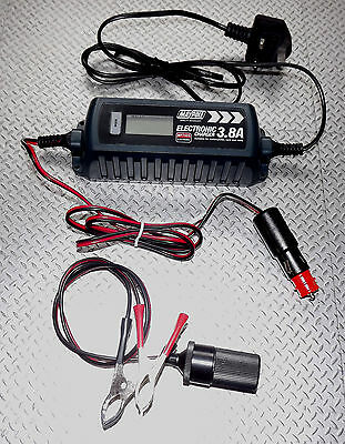 4A OPTIMISER BATTERY CHARGER + MULTIPLE CONNECTIONS CAMPER CARAVAN MOTORHOME 12v