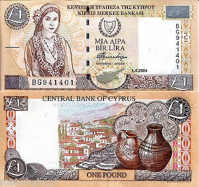 CYPRUS 1 Pound Banknote World Paper Money UNC Currency Europe Note p60d Bill