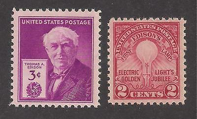 Thomas Edison / Inventor - Electric Light - 2 Old U.s. Stamps - Mint Condition