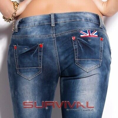 7114f8de2ad Womens New Skinny Blue Jeans Vintage Sexy Low Rise Hipster UK Motif Size 8  10